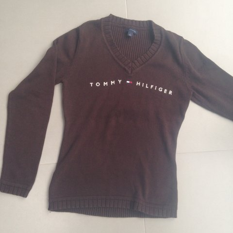 a65f1b0d0 REDUCED  Chocolate brown Tommy Hilfiger jumper with spellout - Depop