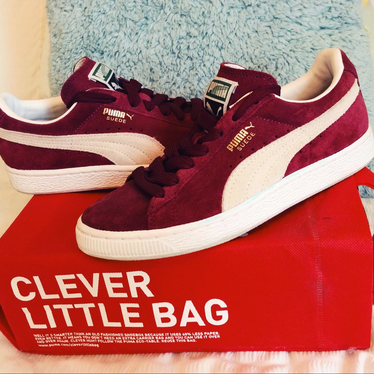 d77a8d3410f236 Burgundy puma suede trainers. Size 4. Worn once