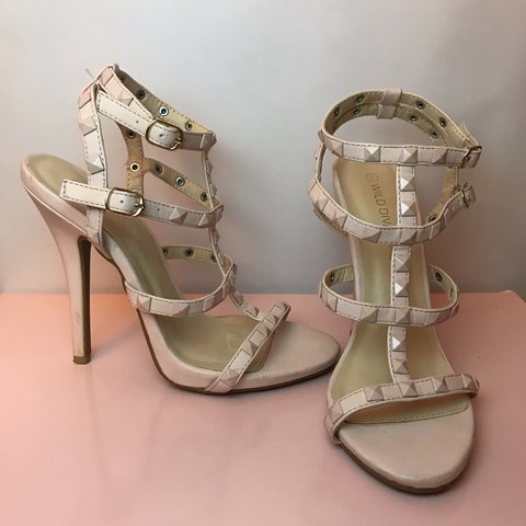b7eb090d536 Wild Diva nude studded heels sandals! Very similar to shoes. - Depop