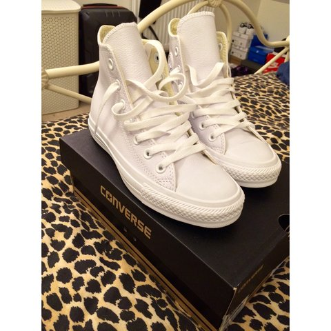 0d2538ff5d6697 White Leather High Top Converse    Converse All Star    New - Depop