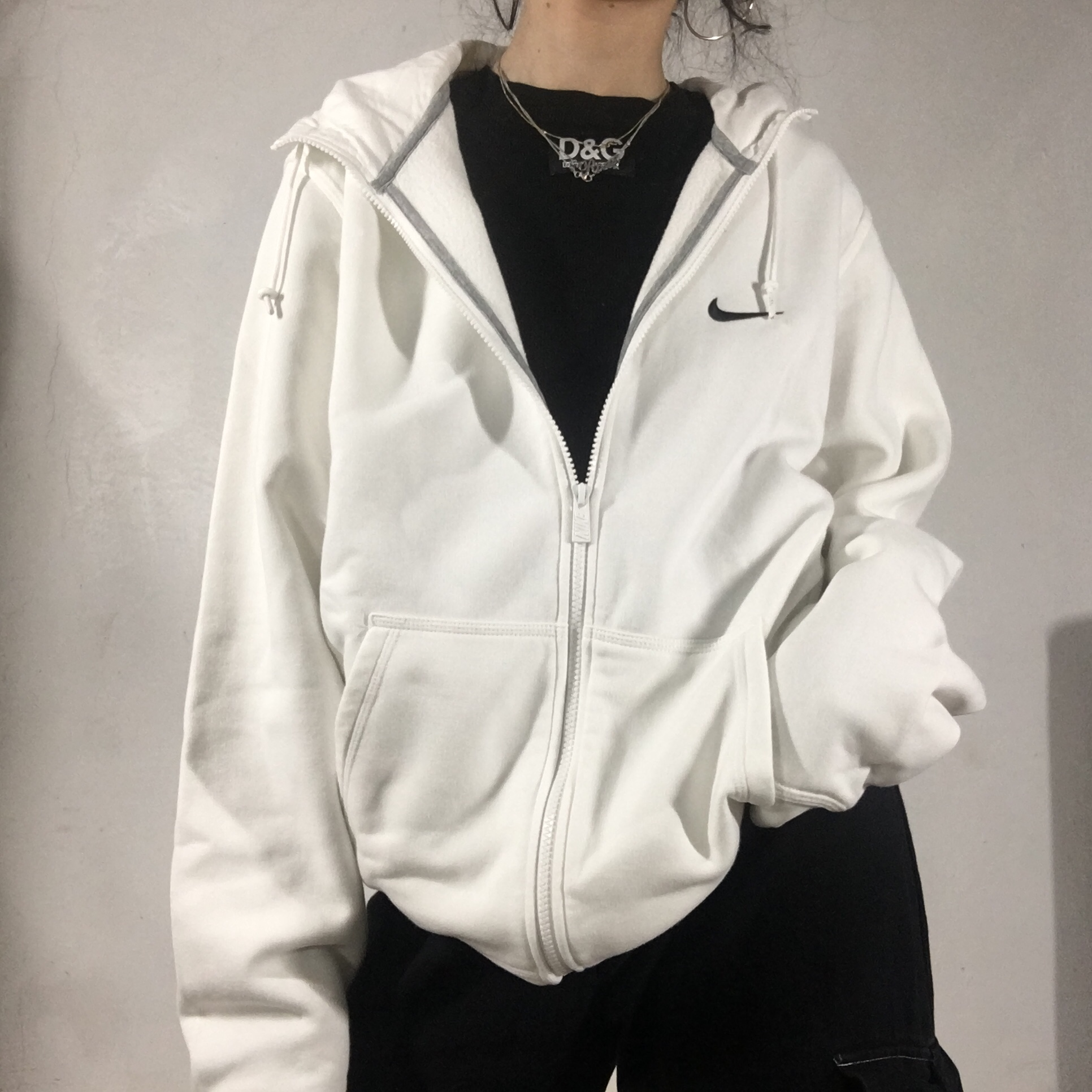 white nike zip up hoodie with embroided