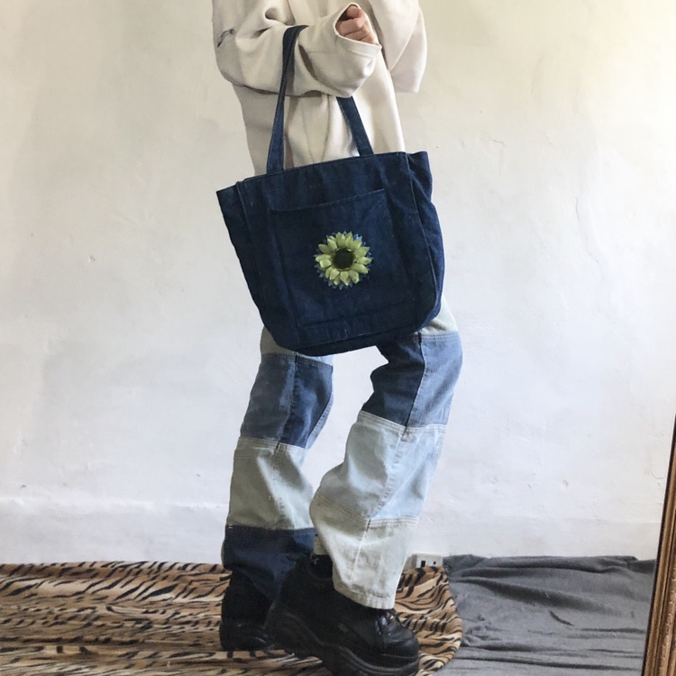 "Denim Bag With Flowet Detail 12x12"" Please Message by Depop"