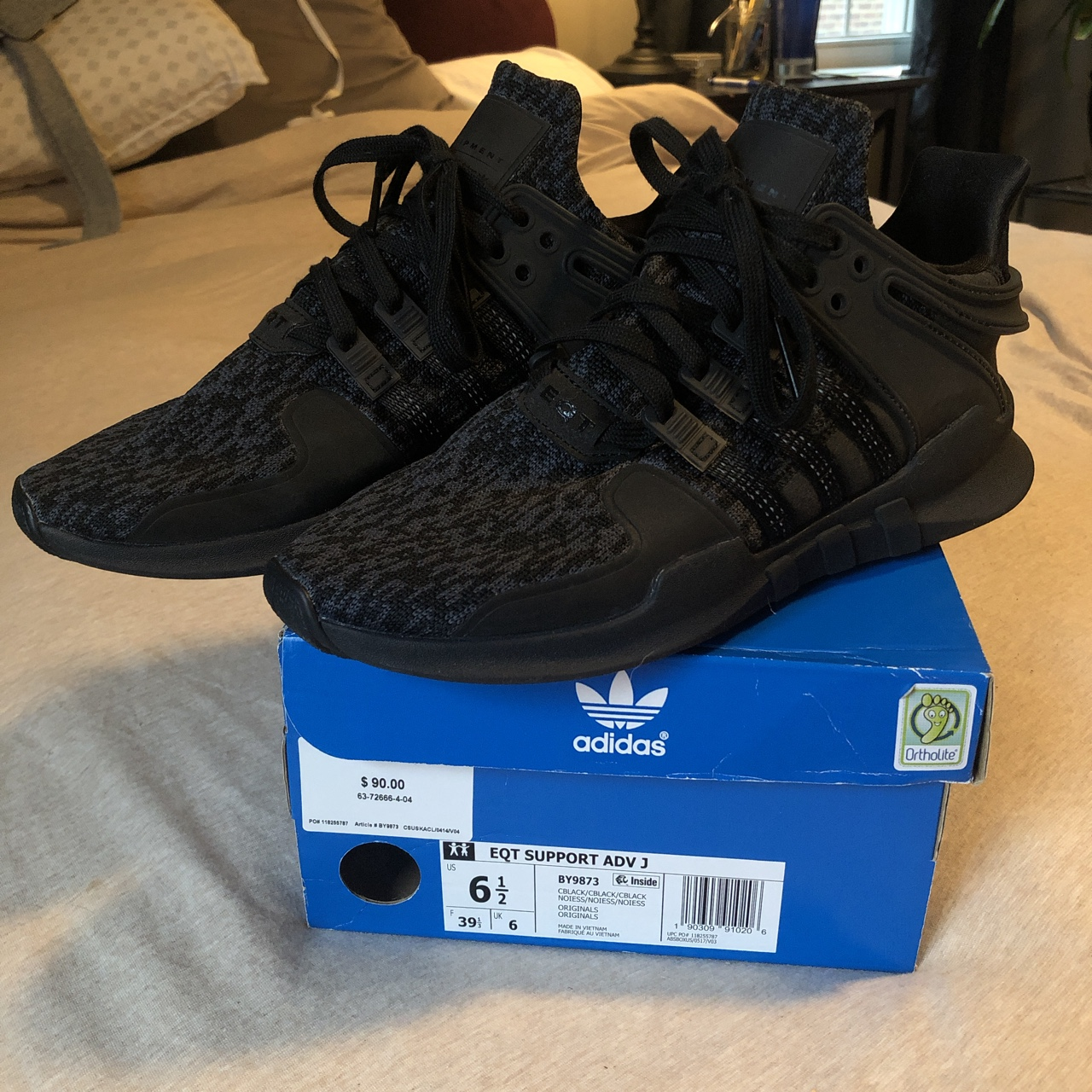 new products d530d e00c1 Adidas eqt support in black with ortholite... - Depop