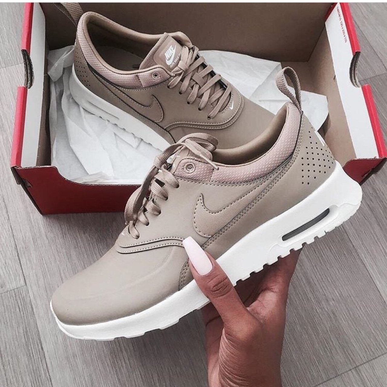 510f0f9b37 Nike Thea Premium Air Max Sand Cargo Beige Stone Trainers as - Depop