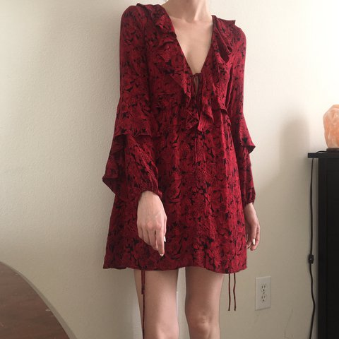 e2695f745ffc @thegothicsprite. last year. Austin, United States. Blood red and black  floral ruffled dress ...