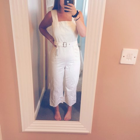 9c86ec686b Gorgeous off white denim jumpsuit from Asos! Comes with a a - Depop