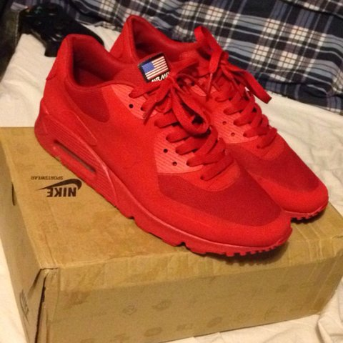 4be3e06a309a8 All red Air Max 90 hyperfuse QS. Independence Day for sale.. - Depop