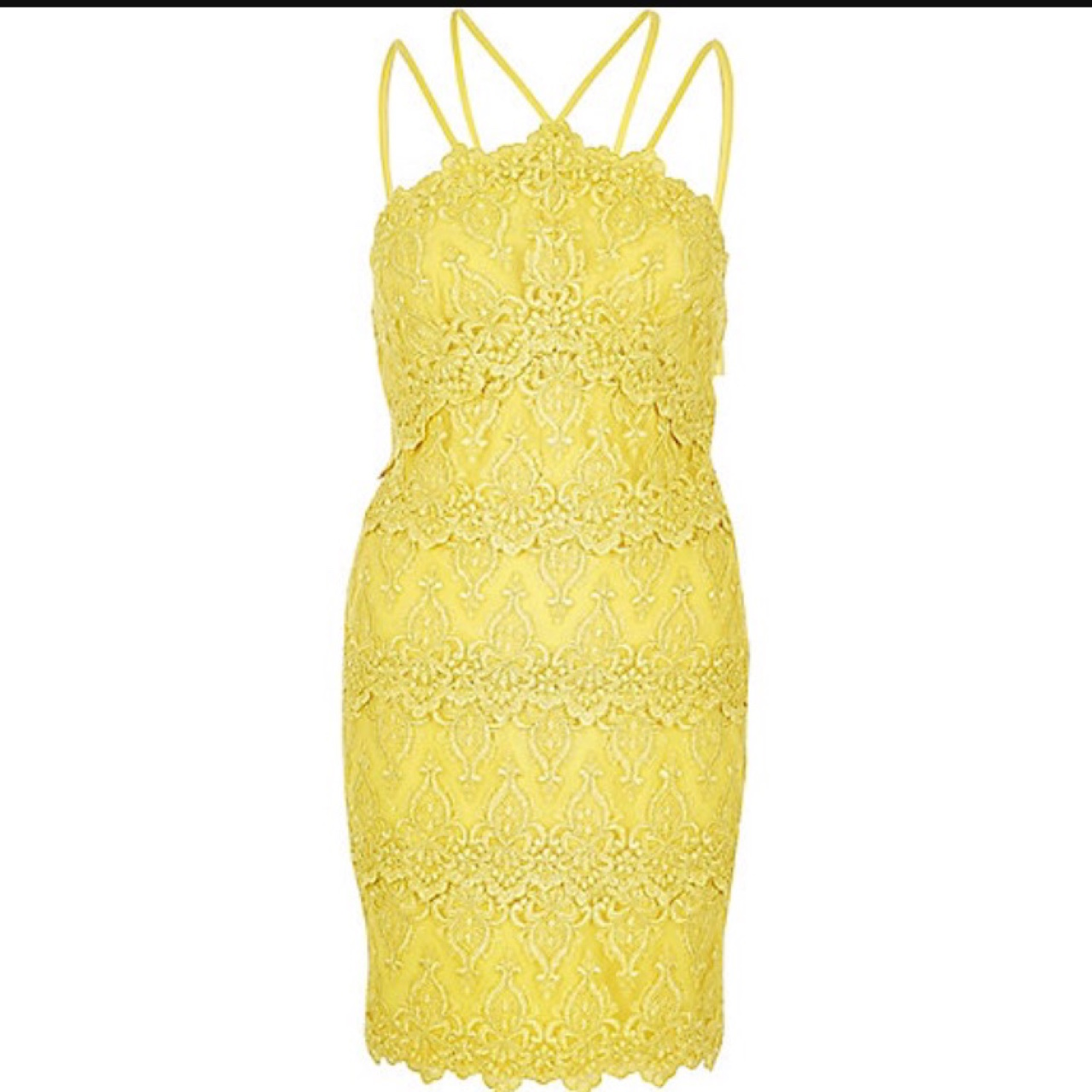 River Island Yellow Lace Dress Size 12 Bodycon Depop