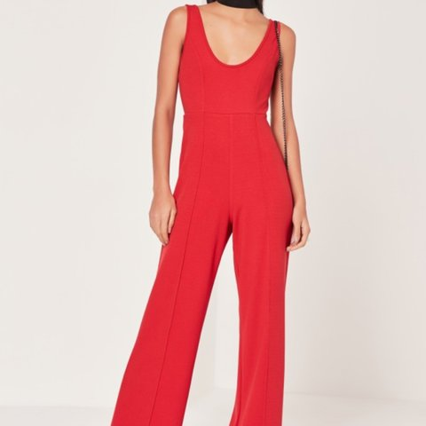 ad192e467d Missguided crepe scoop neck jumpsuit red. Size 8. Worn once - Depop