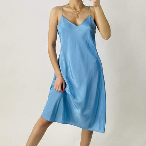 Silky baby blue satin slip dress by Ann Taylor