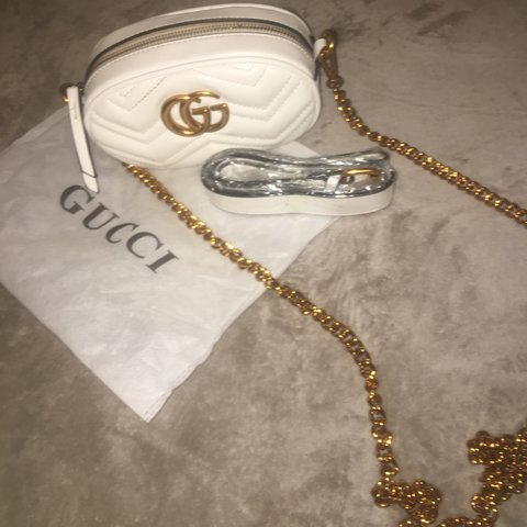 5d2436f033d White leather Gucci bumbag with cross body chain! It s in of - Depop