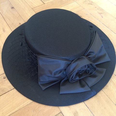 4a8df6b76e788 Black statement hat perfect for the races this year or a or - Depop