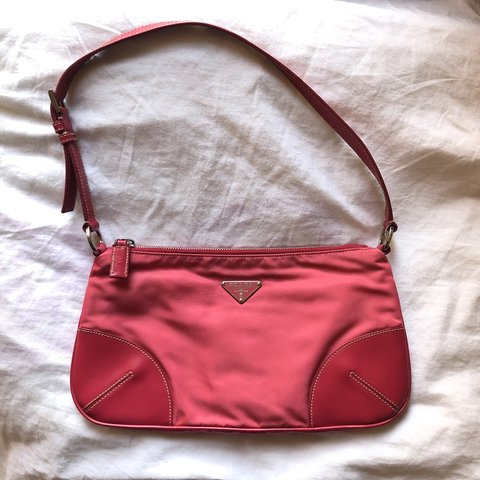 faa12f95c846 Prada nylon bag pink (dragon red) Good condition but one on - Depop