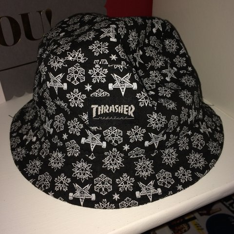 ee9d69a95a8 Thinking about selling this Thrasher Magazine bucket hat 👽 - Depop