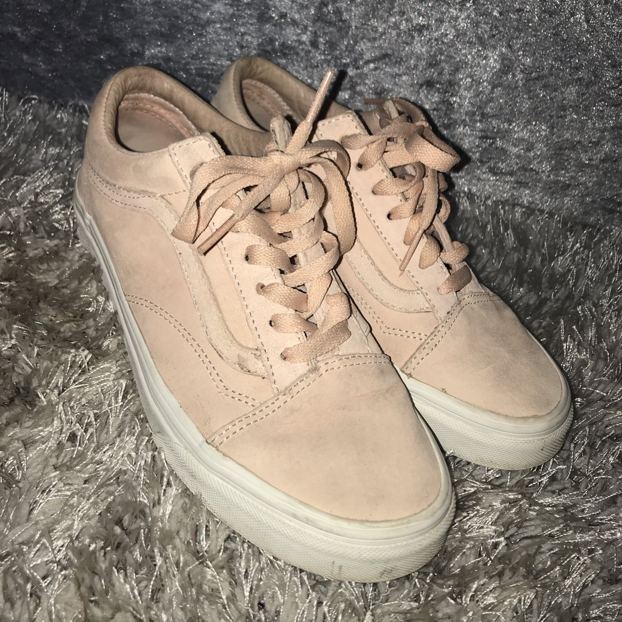 Size 4 nude baby pink and white old skool vans. Super cute - Depop 0b07a559b