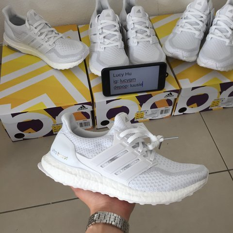 f1d61bbd43676 Adidas Ultra Boost Triple White 2.0 • DS in og box with • 1x - Depop