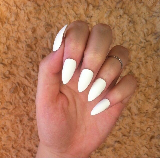 Matte white stiletto nails anyone? 😍 come with nail glue - Depop