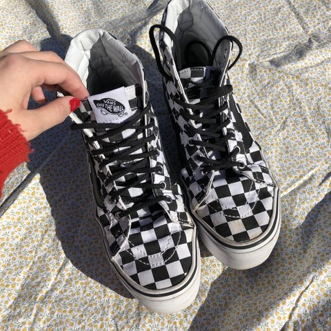ee95d18388 Vans checkered platform Sk8-Hi shoes -worn still good few in - Depop