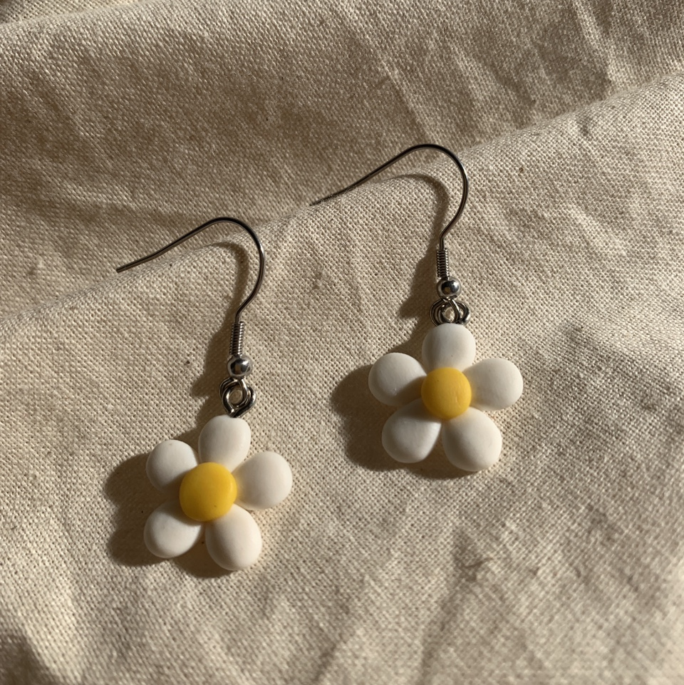 Stainless steel Daisy Polymer Clay Earrings