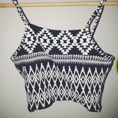 922872bc750 @sally_brown. 3 years ago. Waterford, Ireland. Topshop black and white  Aztec crop top. Size 8. Only worn once ...