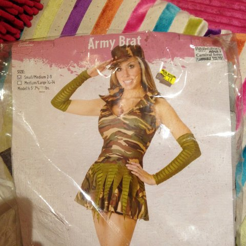 6b68584fd34e5 Army brat costume, never worn. Contains dress, hat and Was - Depop