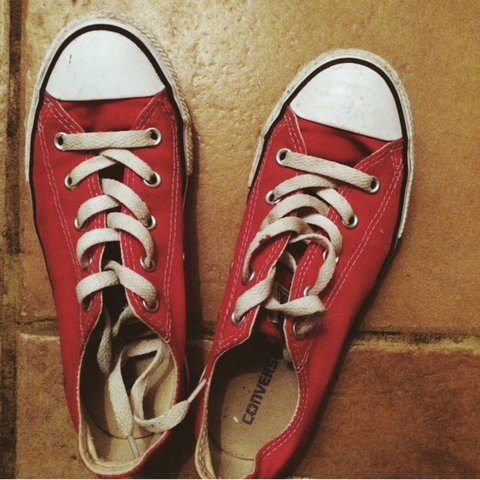 c4701b5c0fb Red converse size 3 hardly worn mail me offers - Depop