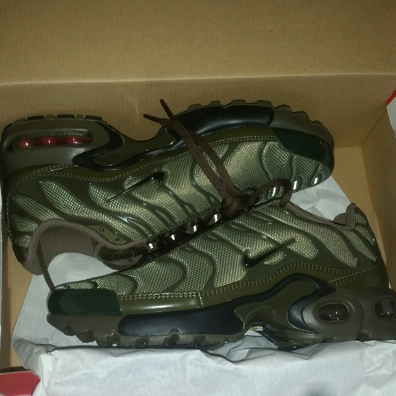 free shipping 2d4f3 26675 Olive khaki green Nike tns tuned 1s  air max plus. Size 6 a - Depop