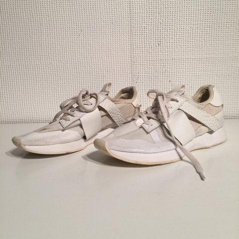 4c1a66d65a726 Zara White trainers Mesh detail Never worn Slightly dirty in - Depop