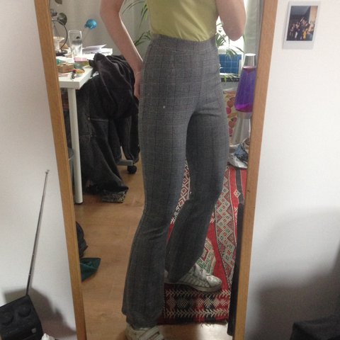 b8ee4b171f Checked print grey and black flared trousers, so comfy and a - Depop