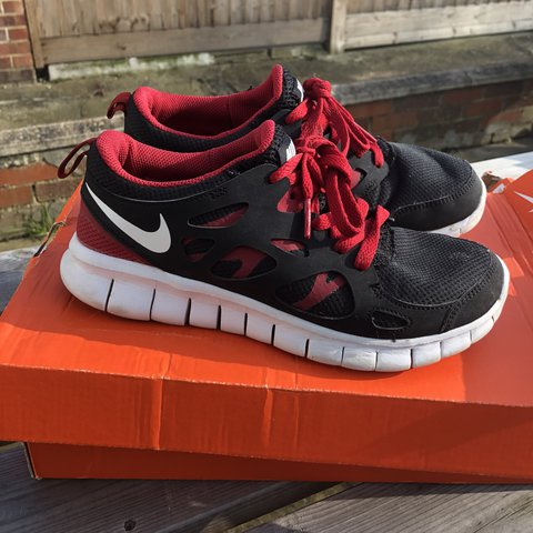 6fdb8141f3a Nike Free Run 2.0 Red Black White Size 5 - Depop