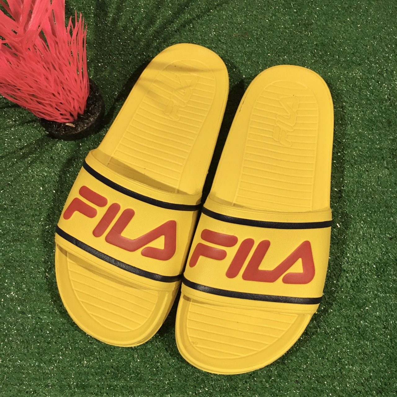 Fila Slides Mustard Yellow Red Spellout
