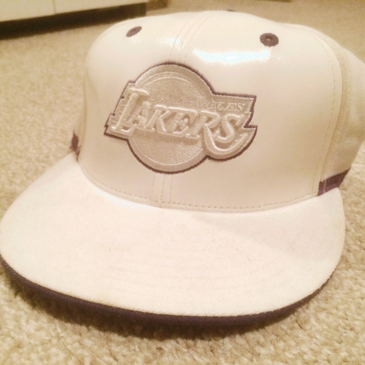 b57a7a86f4a Adidas Original Fitted NBA LA Lakers Cap In Cream With Front - Depop