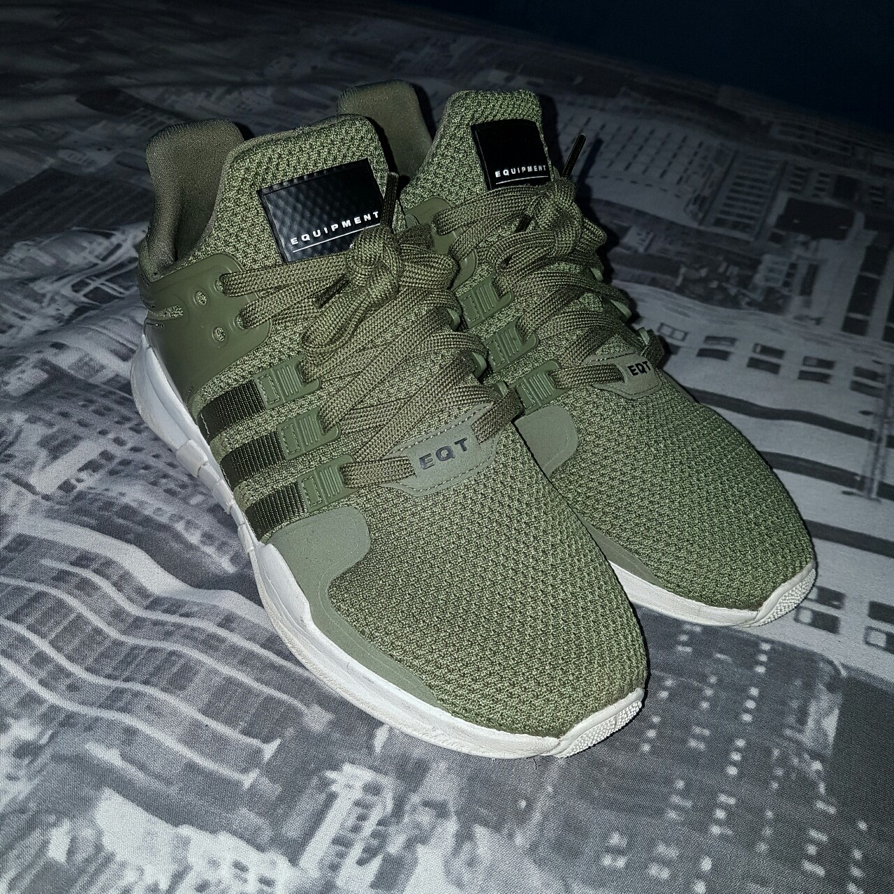 Mens adidas eqt trainers in olive green. Mens size...