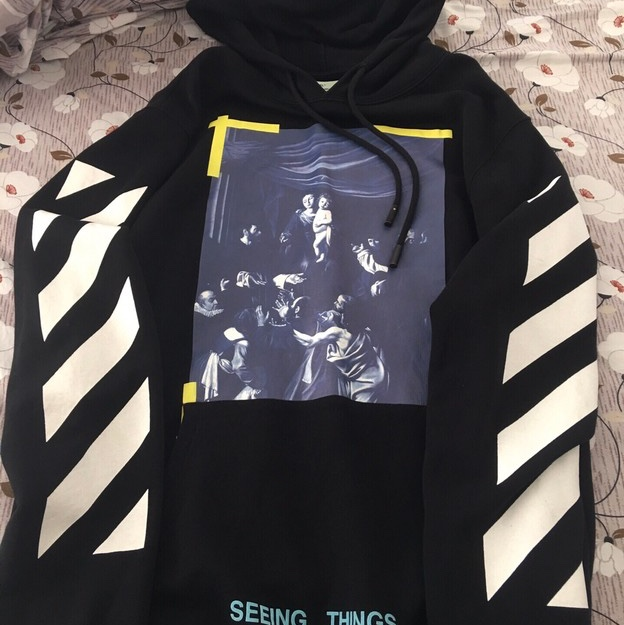 Off White Caravaggio Printed Hoodie Not £1 Send Me by Depop