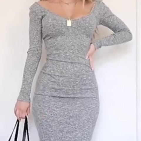 8529bd30cc9e @fashioninflux. 4 months ago. United Kingdom. Windsor On Another Level  Sweater Dress in Gray ...