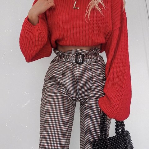 78317fb4c7b3c @fashioninflux. 3 months ago. United Kingdom. Boohoo Heritage Check Belted  Tapered Trouser, Burgundy ...