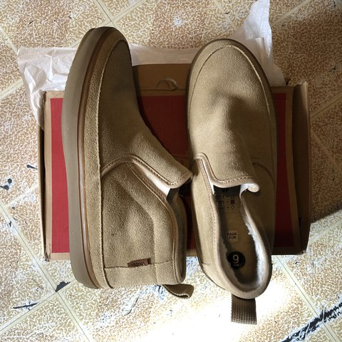 d7aef8a080c86f Vans Slip Ons with Fur inside. Condition  10 10 Size  9 - Depop