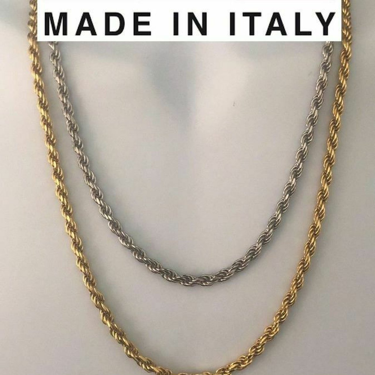 Men/'s 5mm 925 Sterling Silver Italian Rope Chain Necklace made in italy