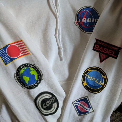 nasa patch white pullover hoodie