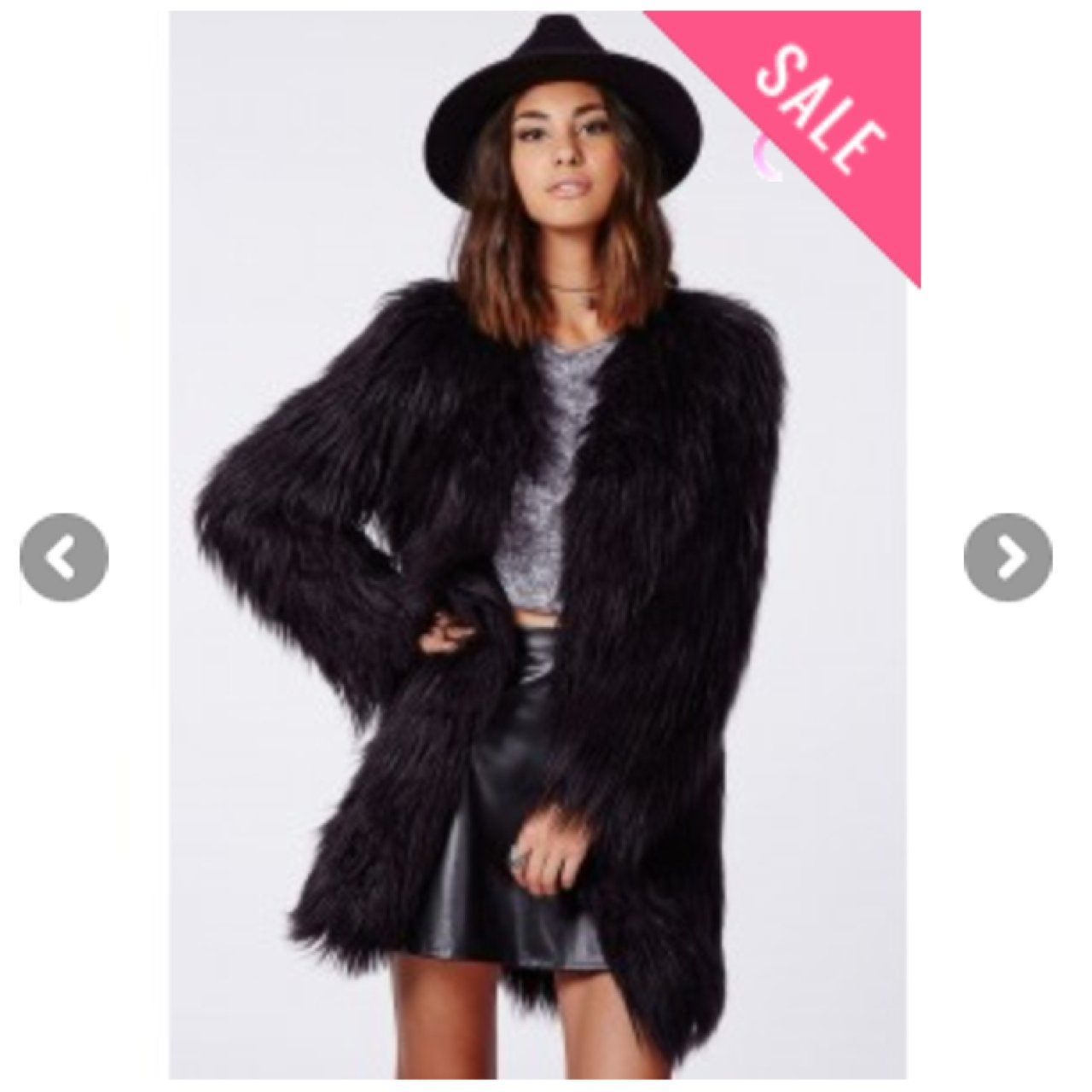 f7fcb34d246 MISSGUIDED CLOE SHAGGY FAUX FUR COAT BLACK - NEVER BEEN WORN - Depop