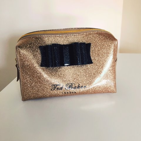 Gold glitter Ted Baker make up bag. Used a handful of times - Depop 802546c7eed82