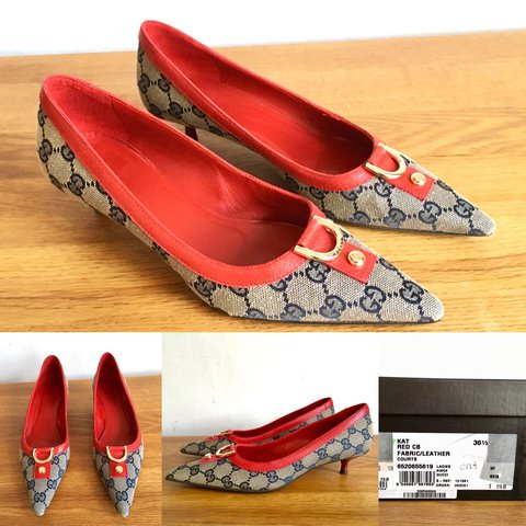 ba4c21ce2b8 For sale are a pair of Vintage Gucci kitten heel shoes from - Depop
