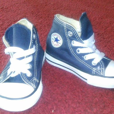 hot sale online 56eed f5b7f Baby converse, navy, never been worn! Size 5 ignore  runners - Depop