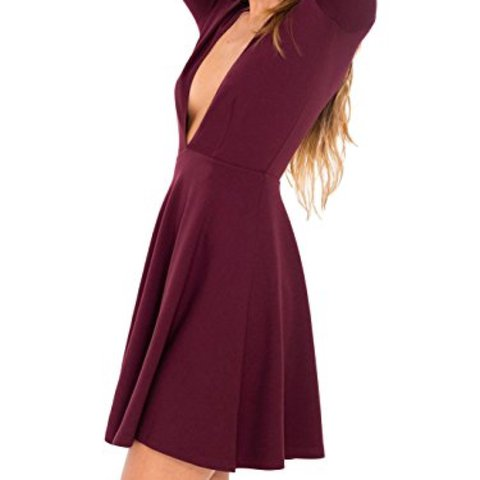 dd58fa5e51 American apparel long sleeve deep v skater dress in port red - Depop