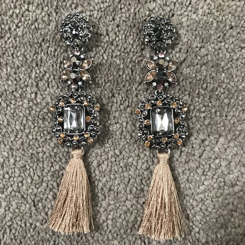 9e0ade7d4 @charisscampbellx. last year. Colchester, United Kingdom. Topshop Nude  Silver Grey Champagne Jewel Tassel Earrings.