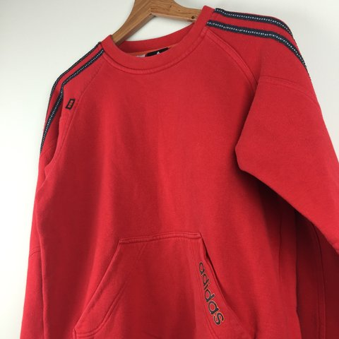 82a5fe1a26c4 Vintage Red Adidas Jumper   Detailing along sleeves with   - Depop