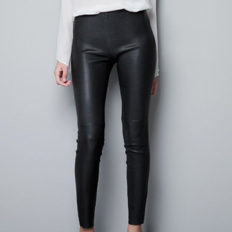 ff97f961 @sioblouises. 2 years ago. Liverpool, UK. Zara ♤ Black ♤ Faux Leather  Leggings With Seam At The Knee.