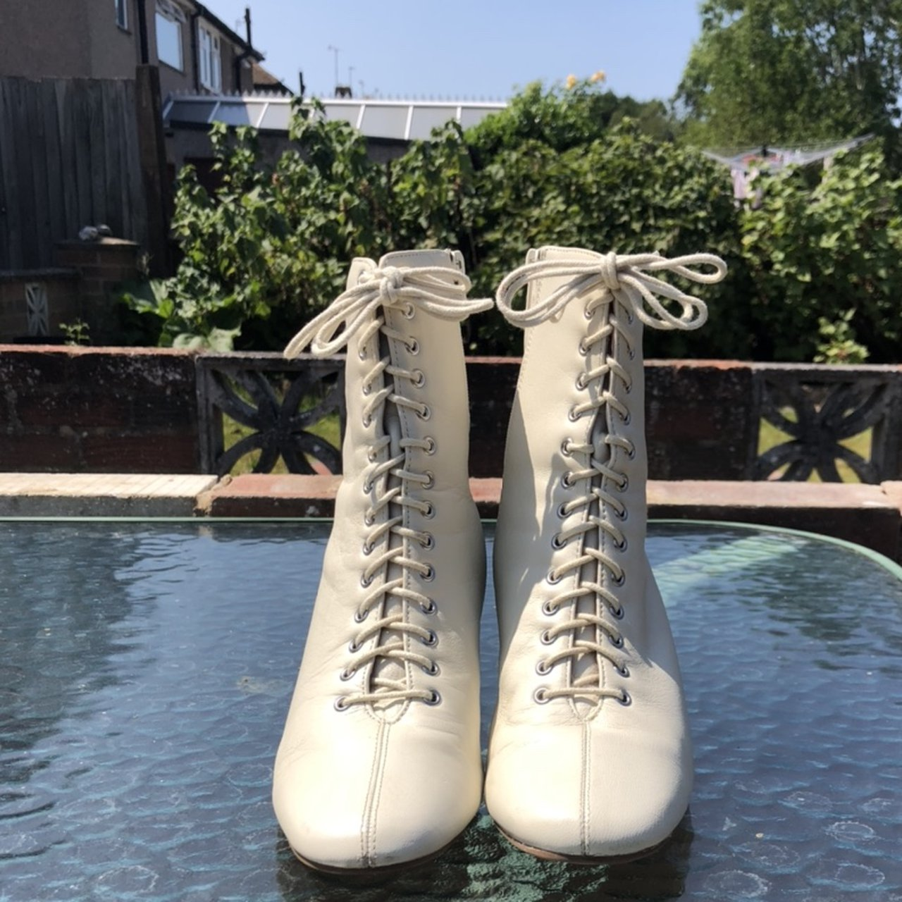 white leather ankle boots. Lace - Depop