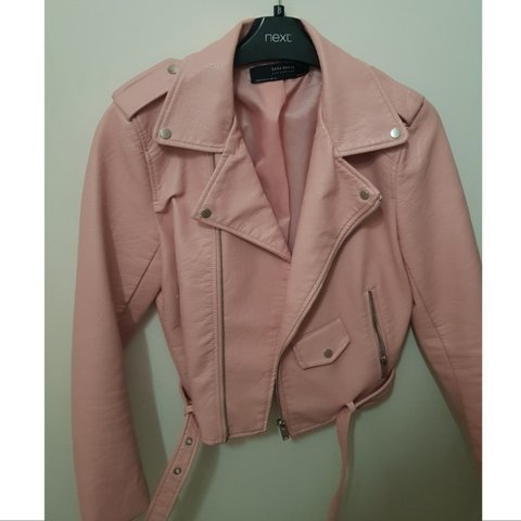 5e2d33a0 @akjxx. 6 months ago. Cardiff, United Kingdom. Zara pink faux leather short  jacket. Worn once.