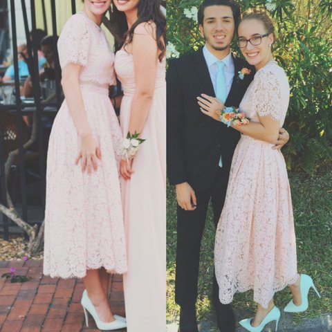 LIGHT PINK VINTAGE PROM DRESS 2 piece connected with mesh - Depop